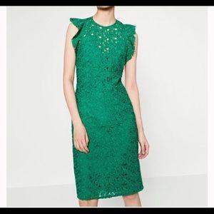 Zara Green Guipure Lace Tube Midi Dress